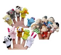Wholesale Christmas Finger Puppets Story - Story Time Finger Puppets - 10 pcs Velvet Animal and 6 pcs Soft Plush Family Puppets With Bonus