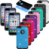 Wholesale Hybrid Rugged Rubber Silicone - iPhone 6 Hybrid Robot Case Rhinestone Rugged Rubber diamond Bling Crystal Hard Cases Cover For iPhone6 4.7 inch