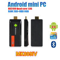 Wholesale android tv kitkat resale online - Quad Core RK3188 TV Box MK809IV Android kitkat GB GB Bluetooth Wifi Google TV Player HDMI MK809 IV Updated MK809 III