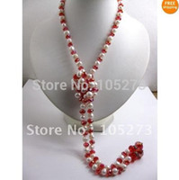 Gros-Belle couleur long collier de perles 7-8mm AA Blanc Véritable perle d'eau douce Collier Opera 44''inchs! + Cristal rouge FN81