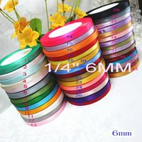"Wholesale Mix Colors Ribbon 6mm - solid color (1 4"")6mm satin ribbons belt gift packing wedding decoration 25yards roll 20 rolls min order mixed colors available 500yards"
