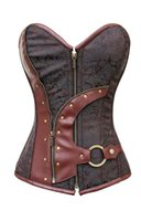 Wholesale Lingerie Brown String - bustiers & corsets corselet Women 2014 Brown Brocade Steampunk Corset Top With G-string LC5313 plus size XXL sexy lingerie set FG1511
