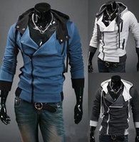 Assassinen Jacke Stile Kaufen -FREIES VERSCHIFFEN neue Assassins Creed 3 Desmond Miles Hoodie Top-Mantel-Jacke Cosplay, Assassins Creed-Stil mit Kapuze Fleece-Jacke,