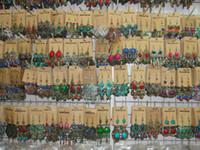 vintage stil moda bronz toptan satış-2017 Yeni moda takı Rastgele mix 12 stil 12 Çift / grup Vintage Tibet Gümüş / Bronz Reçine Gem damla Küpe Dangle Küpe
