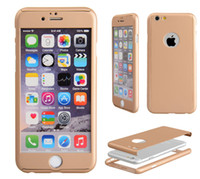 Wholesale For iPhone7 Degree Full Body Protection Hybrid Hard PC Case With Tempered Glass For iPhone S SE S Plus iPhone6 iPhone7
