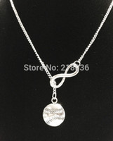 Wholesale Vintage White Sweater - Infinity Baseball Softball Necklaces Pendant For Woman Vintage Silver Charms Choker Sweater Chain Necklaces Couple Punk Jewelry DIY HOT L449