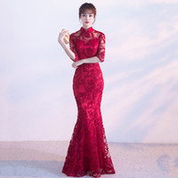 Wholesale Woman Dress Chinese Style - HYG2 Cheongsam Chinese Style Traditional Embroidery Women Long Lace Red Wedding Qipao Dresses High Quality Mermaid Party Dress Evening Dress
