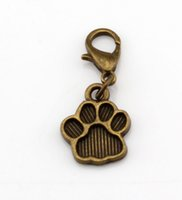 Quente! 150pcs Antique Bronze Paw Print Charm Dangle Bead com fecho de lagosta Fit Charm Bracelet 11 x 29 mm DIY Jewelry
