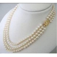 Wholesale necklace rows white pearl - Elegant 3 ROWS WHITE 8-9 mm Akoya pearl necklace 14k 20