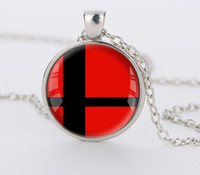 Wholesale Red Glass Ball - 1PC Super Smash Bros Ball red and Black Pendant Glass Round silver necklace for men women gift choker Jewelry CN433