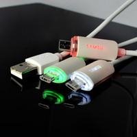 kabeldatenfarbe samsung großhandel-Für Android Universal-Multi-Color-Schimmer USB-Kabel Licht Blink Micro Schnellladung Daten Sync-Ladekabel Für Samsung Huawei Xiaomi