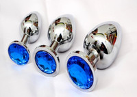 Wholesale Wholesale Large Metal Butt Plugs - 3pcs  set Small Middle Large size Stainless steel metal Anal plug butt products hydrant backwoods men sex toy ass hole fun