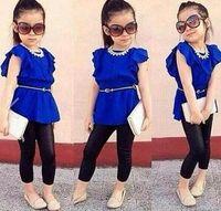 vestido azul terno crianças venda por atacado-2016 Hot Sale Designer crianças roupas set Meninas roupas terno camisa azul vestido + leggings preto crianças roupas casuais