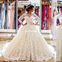 Wholesale vintage bow saw - 2017 Elegant Ivory Lace Long Sleeve Wedding Dresses Sheer Jewel Neck See Though Back Bow Ball Gown Bridal Gown Custom Made For Church
