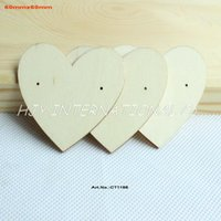 Wholesale Wooden Earring Blanks - Wholesale-(50pcs lot) Natural Wooden Earring Tags Jewelry Label Cards Display Jewelry Holder Blank 60mm-CT1166