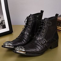 Wholesale- Plus Size 2016 New Genuine Leather Formal Brand Man Ankle Boots Men's Pointed Toe Motocicleta Punk Rock Rubber Shoes FPT344