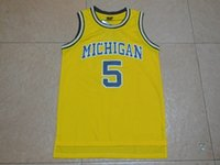 Jalen Rose College Basketball Jersey Günstige # 5 Jalen Rose Shirts Retro Throwback Michigan Wolverines Gelb genäht Basketball Jersey Mens