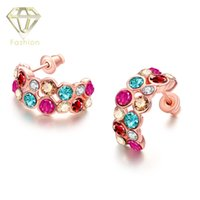 Wholesale Drilled Ear Cuffs - Ear Cuffs New Fashion Rose Gold Plated Drill Crystal Quartz Colorful Fashion Stud Earrings Jewelry for Women Best Gift for Girlfriend