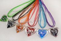 Wholesale Heart Shaped Glass Pendants - Charm Art Mixed Color Cute Love Heart Shape Hot Murano Glass Silk Cord Necklace Jewelry NL168
