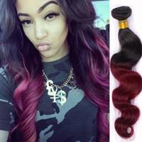 Wholesale Chinese Sale Beauty - Brazilian virgin hair body wave 3 bundles deal ombre hair extensions for sale 100% virgin remy hair weave vip beauty 1B burgundy hair weaves