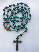 mens jesus cross kolye toptan satış-Tespih kolye Pirinç Şekilli Bayan / Erkek Tespih Kolye Kolye İsa Mesih Çapraz Kolye Tespih uzun Kolye