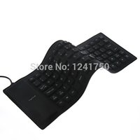 Al por mayor-85-Key 2.0 de silicona plegable de la PC teclado de ordenador con cable USB-Negro