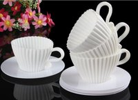 Wholesale Tea Cup Mold - 320 Sets of Silicone Cupcake Cups Muffin Baking Cake Tea Saucers Teacup Mold Free Shipping