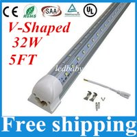 32W V-Shaped Led Tube Light Double Glow 1.5m Integração para lâmpadas de porta de porta mais frias AC 110-277V Warm / Cool WhiteT8 5FT Transparent Cover