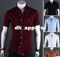 Wholesale Korean Slim Fit Shirts Brand - Summer Style Men Short Sleeve Casual Shirt Dress Brand Slim Fit Men Dress Shirts Imported Clothing Korean Style Camisa Masculina