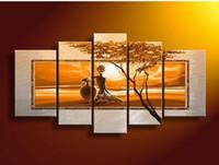 Wholesale Sun Painting Modern Art - Hand-painted wall art African desert sun Home Decoration Modern Landscape Oil Painting on canvas 5PCS