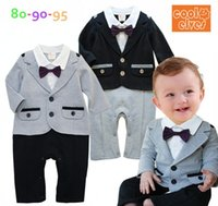 Wholesale Rompers Gentleman Modelling Baby - 2014 Autumn Baby romper Boys gentleman long sleeve rompers kids relaxation Modelling climb clothes children jumpsuits baby clothing GR14