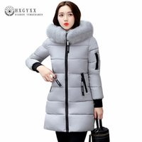 Wholesale Orange Coat Fur Collar - Wholesale- 2017 Winter Jacket Women Cotton Coat Plus Size Fur Collar Hooded Parka Female Long Slim Quilted Jackets Zipper Warm Outwear O2