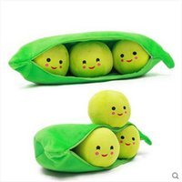 Regalos De La Almohada De La Novia Baratos-Rosiky 50CM Kids Baby Plush Toy Cute Pea Stuffed Plant Doll 4 estilo Novia Kawaii para niños Regalo Alta calidad Pea-shaped Pillow Toy