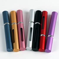 alüminyum seyahat kutuları toptan satış-5 ml Mini Seyahat Taşınabilir Değiştirilebilir Boş Atomizer Parfüm Şişesi Alüminyum Pompa Sprey Kutusu Parfüm Kozmetik Cam Konteyner