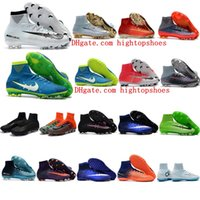 Wholesale Children High Top Shoes - Children Soccer Shoes Kids Soccer Cleats CR7 Cristiano Ronaldo Men mercurial superfly V DF FG TF High Top Youth Boys Football Boots neymar