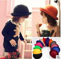 Wholesale Kids Crocheted Dresses - Little girls fedora hat Dome cap Children dress hats Kids caps felt hats wool felting Bowler hat