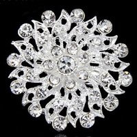 Wholesale Indian Girls Clothes - Very Pretty Silver Plated Clear Crystal Flower Pin Brooch Girls Clothes Collar Pins Wedding Jewelry B336