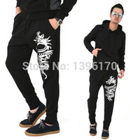 Wholesale Autumn Tattoos - Wholesale-2015 new fashion Autumn Harem Dragon Tattoo Pants men Hip Hop Dance Male Trousers Jogging Sweatpants Pants men,K07