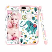 Wholesale Iphone Elephant Silicone Case - 3 in 1 Layer Hybrid Shockproof Full Body Armor Defender Protective Cute Elephant Heavy Duty Case for iphone x 8 7 6S 6 Plus Samsung Note8 S8