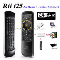 Wholesale Rii Mini Wireless Pc Qwerty - 2015 New Wireless Keyboard Rii Mini i25 2.4GHz Fly Air Mouse 6 Axis QWERTY Keyboards IR Remote Control for Android TV Box Smart Mini PC Game