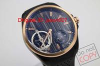 Wholesale Dlc Pvd - Luxury Brand Top Quality Wristwatch Black Dlc Pvd Tourbillon Rubber Bands Automatic Mens Watch Men's Glass back Watches