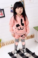 Wholesale Cotton Jumpers For Girls Clothing - Free shipping girls spring autumn clothes cute girl outfit rabbit printed jumper+legging 2pcs set for baby girls kids suit