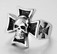 Popular Mais recente Design Punk Biker Pure 316L Stainless Steel Silver Black Exagerado Mal Crânio / Death's Head Cross Men Anel
