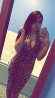 Wholesale Leopard Clothed - 2015 Sexy women Leopard Dress Deep V Sleeveless Party dresses Summer women Club dress Plus Size Clothes No Belt