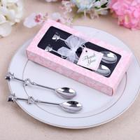 Wholesale Tea Sets Wedding Gift - Heart Shaped Love Coffee Tea Spoon Wedding decoration lover gift stainless steel dinner tableware sets wen4650