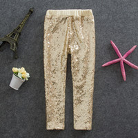Wholesale Children Leggings Wholesalers - Girls Leggings kids gold sequins pants Autumn New children Bottoms girls princess pants A6949