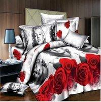 Wholesale Cheap Bedclothes - Wholesale-3D Bedding Set Hot Cheap Marilyn Monroe Bedding Sets Duvet Covers Set Queen Size Rose Marylin Bedclothes Home Textiles