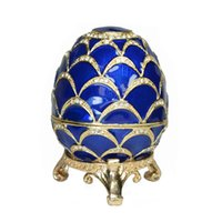 Wholesale Russian Eggs - Russian faberge style blue Easter egg trinket box bejeweled egg jewelry box vintage decoration box giveaway gifts birthday mother's day gift