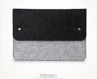 "Wholesale Ship Macbook Pro China - Button storage Laptop bag macbookpro air11 13 15 "" felt notebook computer bag case drop shipping Can be customized adding logo"