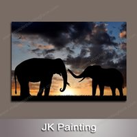 Wholesale Large African Art Wall Pictures - Large Panel Wall Canvas Art Painting of African Elephants Decorative Painting for Wall Canvas Picture -- Large Canvas Art Cheap
